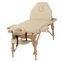 Pat masaj portabil, cadru lemn, Certusa, bej, 3 zone