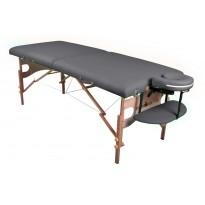 Pat masaj portabil, cadru lemn, Sierra, gri, 2 zone, saltea 8cm, suport brate