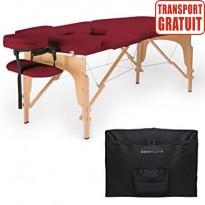 Pat masaj portabil, cadru lemn, Sierra, visiniu, 2 zone, saltea 8cm, suport brate