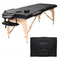 Pat masaj portabil, cadru lemn, Sierra, negru, 2 zone, saltea 8cm, suport brate