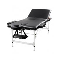 Pat masaj portabil, cadru aluminiu, Torcal, negru, 2 zone
