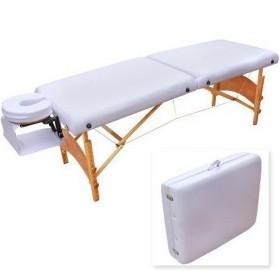 Pat masaj portabil, cadru lemn, Basic, alb 2 zone, saltea 8 cm